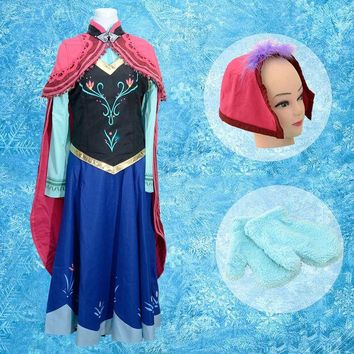 ONETOW Fatasia  anna dress adult princess costume snow queen cosplay clothes halloween children costumes for girls kids anna costume