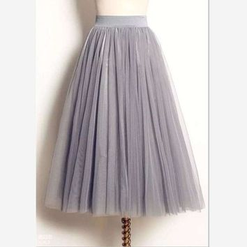 DCCKDZ2 women Puff Mesh Tulle Skirt White Faldas High Waist Pleated Maxi Long Tulle Skirts Plus Size 3 Layers With Liner