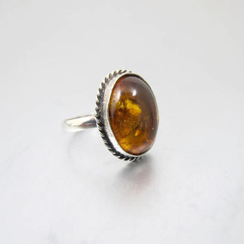 Vintage Sterling Baltic Amber Ring. Natural Oval Dark Honey Amber Cabochon. Baltic Amber Jewelry.
