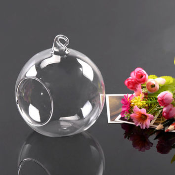 Hot Worldwide 8cm Hanging Glass Flowers Plant Vase Stand Holder Terrarium Container