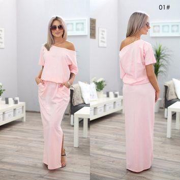 Women Clothing Summer Beach Long Dresses For Women Solid Slash Neck Short Sleeve Placement Split Side Party Dresses Maxi Dress
