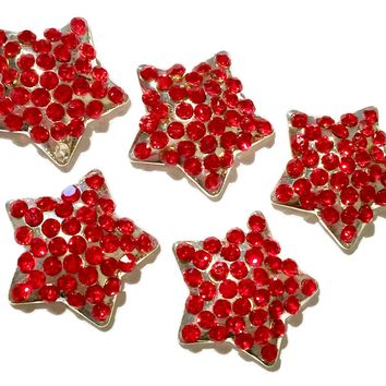 21mm red 4th of July star metal rhinestone flat back button