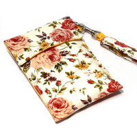 iPhone Wallet with Detachable Wrist Strap, Smartphone Wallet, Smartphone Wristlet, iPhone Sleeve. iPhone 5 sleeve. Floral IPhone . Gift Idea