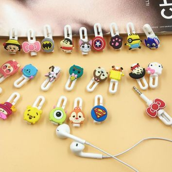 10pcs/lot Cartoon USB Cable Earphone Protector headphones line saver and cable winder cord holder data cable protection