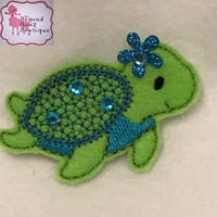 Sea turtle baby hair clip, custom color turtle hairclips with bling, toddler, girl, adult,embroidered felt barette, baby bows, glitz, cute,