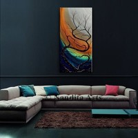 """Landscape Paintings on Canvas, 60"""" Tree Art, Still Life, Wall Art, Original Abstract Green and Orange Bed Room Art Decor by Nandita"""