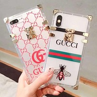 GUCCI Fashion New Bee Stripe More Letter Print Transparent Women Men Phone Case Protective Cover