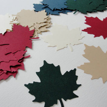 Autumn Fall Leaf Leaves Paper Cut Outs Cutouts Scrapbook Embellishments Tags Decorations  Set of 50