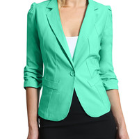 LE3NO Womens Fitted Cinch 3/4 Sleeve Blazer Jacket (CLEARANCE)