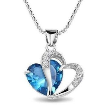 DCCKIX3 M-TARA 1PC 925 Sterling Silver  Plated Blue Crystal Gemstone Amethyst Heart Pendant Necklace Gift = 1933128772