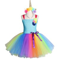Rainbow Unicorn Girls Tutu Dress Tulle Flower Baby Girl Birthday Party Dress Children Kids Halloween Pony Unicorn Costume 2-12Y