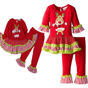 Baby Girls Kids Christmas Long Sleeve Tutu Dress Tops and Leggings Outfit Set