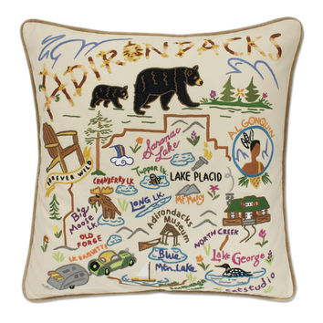 Adirondacks Hand Embroidered Pillow