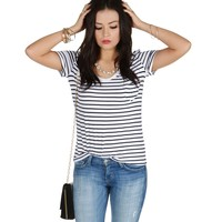 Sale- The Qt Navy Stripped Tee