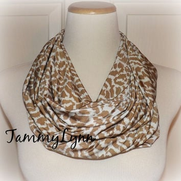 Tan Abstract Stretch ITY Jersey Knit Infinity Scarf Slinky Soft Cool Women's Accessories