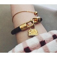 LV Louis Vuitton Classic Stylish Women Cute Small Bag Pendant Leather Stainless Steel Hand Catenary Bracelet+Best Gift I-KMG-NPSL