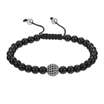 Braided Glossy Black Bead Bracelet Black lab diamonds Round Charm Fashion