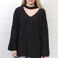 Choker + Keyhole V-neck Knit Sweater {Charcoal}