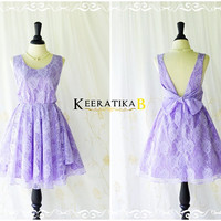A Party V Charming Dress Pale Lilac Lace Party Dress Lace Backless Dress Prom Cocktail Dress Lilac Lace Wedding Bridesmaid Dress XS-XL