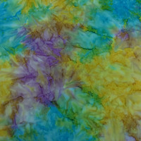 Made in Indonesian--Indonesian Batik Fabric--Summer Gems Tie Dye Batik in Purple, Blue, Yellow and Green--Indonesian Fabric by the HALF YARD