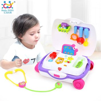 HUILE TOYS 3107 Baby Toys Kids Doctor Suitcase Pretend Play Toy with Music & Light Electronic Doctor Nurse Medical Play Toys Set