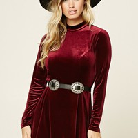 Mock Neck Velour Mini Dress