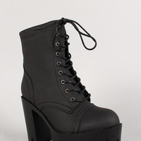 Leatherette Lace Up Lug Sole Platform Bootie