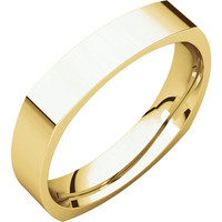 10k Yellow Gold 4mm Square Comfort Fit Wedding Band Ring - Bridal Jewelry: RingSize: 50