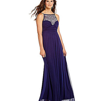 B. Darlin Jewel High-Neckline Pleated Gown | Dillards.com
