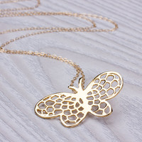 """Butterfly Necklace, Long Necklace, Gold Butterfly Necklace, Layered Necklace, Rose Gold Necklace, Bridesmaid Jewelry, Wedding, """"Messembria"""""""