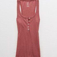 Aerie Real Soft® Ribbed Henley Tank, Ruby Kiss