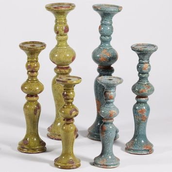 Striking Ceramic Tuscany Candle Holder, Blue And Green, Assortment Of 2 , Set Of 3 By Benzara