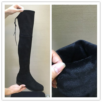 Flat Suede Over the Knee Thigh High Boots up to Size 11