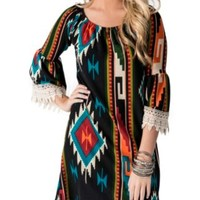 R. Rouge Women's Black with Multicolor Navajo Print 3/4 Bell Sleeves Dress- Plus Sizes
