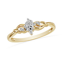 Diamond Accent Braided Promise Ring in 10K Gold - View All Rings - Zales