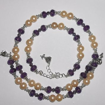 Roses & Purple Amethyst Swarovski Crystal & Vintage Pearl Bead Wrap Necklace & Bracelet Set