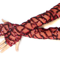 Rendolen // Free Shipping, Red Burgundy Thumbhole Sheeny Long Gloves, Dance costumes accessories, Lolita Sexy gloves