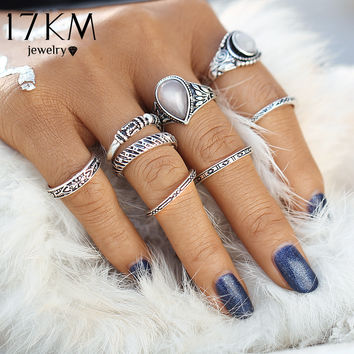 17KM Vintage 8 pcs Bohemian Beach Opal Ring Set Ethnic Antique Silver Color Water Drop Midi Finger Boho Rings Set Charm Anell