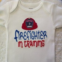White Firefighter in Training Onesuit (Label on hat can be personalized