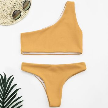 Popular Summer Women Pure Color Single Shoulder Strap Two Piece Bikini Swimsuit Bathing Yellow