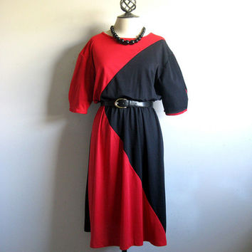 Vintage 1980s Jersey Dress Red Black Skater Tshirt Sport Dress 12