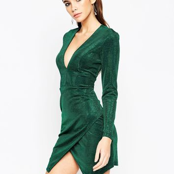 ASOS NIGHT Metallic Wrap Plunge Mini Bodycon Dress