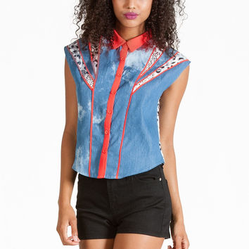 Sky High Chambray Blouse