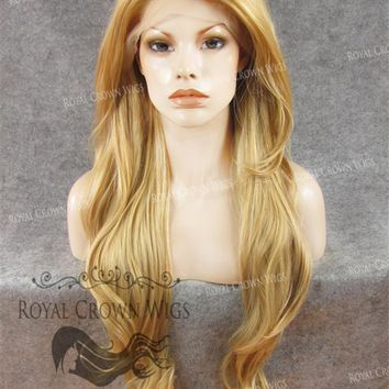"""26"""" Heat Safe Synthetic Lace Front """"Constance"""" with Curly Texture in Golden Blonde Mix"""