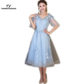 TIANMIYUEDING Light Pink / Blue / Red Cheap Prom Dresses 2017 Stock Tea Length Short Formal Cocktail Dress Vestidos De Formatura