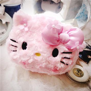 Cute Japanese Anime Cherry Blossom My melody Hello Kitty Plush Bags Stuffed Toy Soft Cosmetic bag Women's Handbag Girls Gifts