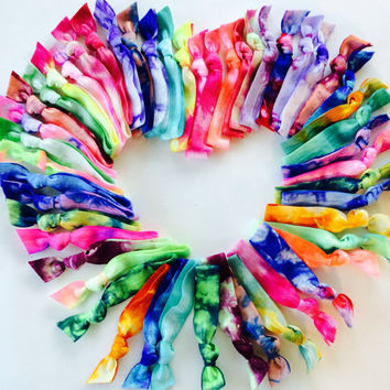 50 Tie Dye Hair Ties-Ponytail Holders by Elastic Hair Bandz
