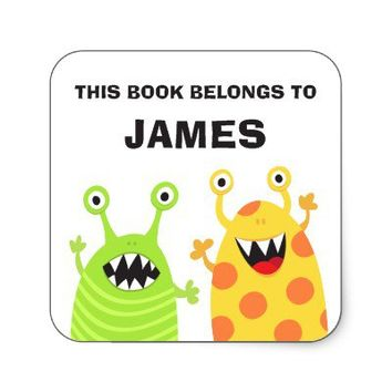 Funny monsters bookplates book stickers for kids from Zazzle.com