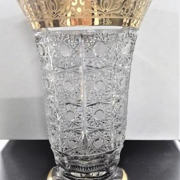 Czech bohemia crystal glass - Cut Vase 21-31cm decorated  gold and engraving