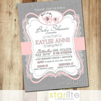 Elephant Baby Shower Invitation - pink gray burlap lace - 5x7 retro vintage style, typography, unique shower invitation - You Print